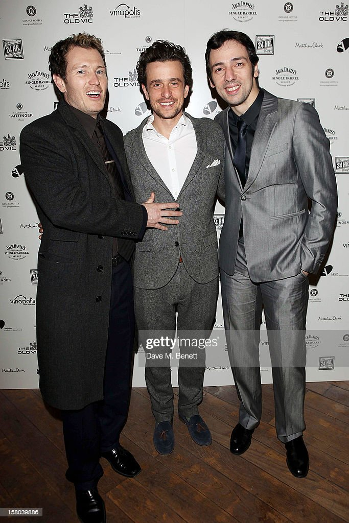 Nick Moran, Hamish Jenkinson and Ralf Little attend an after party celebrating the 24 Hour Musicals Gala Performance at Vinopolis on December 9, 2012 in London, England.