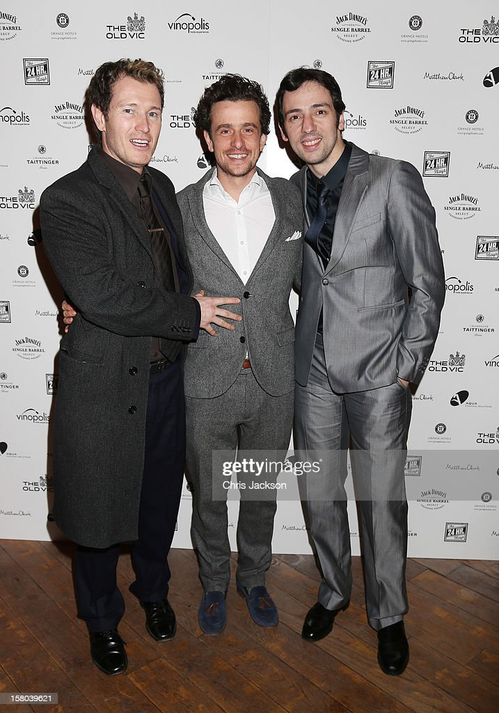 Nick Moran, Hamish Jenkinson and Ralf Little attends the post-show party, The 25th Hour, following The Old Vic's 24 Hour Musicals Celebrity Gala 2012 during which guests drank Jack Daniels Single Barrel, Curtain Raiser cocktails in The Great Halls, Vinopolis, Borough on December 9, 2012 in London, England.