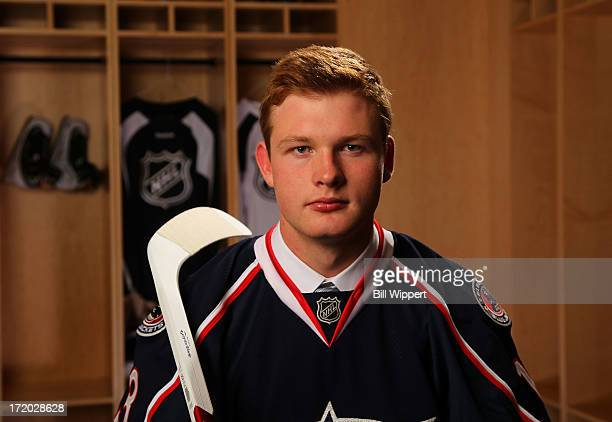 Nick Moutrey 105th pick overall by the Columbus Blue Jackets poses for a portrait during the 2013 NHL Draft at Prudential Center on June 30 2013 in...