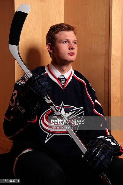 Nick Moutrey 105th pick overall by the Columbus Blue Jackets poses for a portrait during the 2013 NHL Draft at the Prudential Center on June 30 2013...