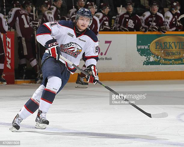 Nick Moutrey of the Saginaw Spirit skates against the Peterborough Petes during an OHL game at the Peterborough Memorial Centre on February 20 2014...
