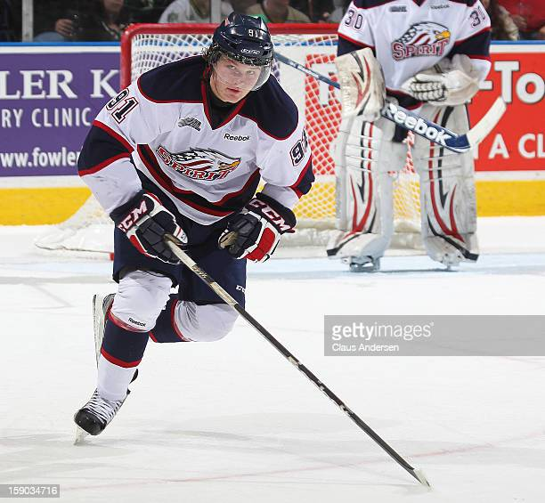 Nick Moutrey of the Saginaw Spirit skates in an OHL game against the London Knights on January 4 2013 at the Budweiser Gardens in London Canada The...