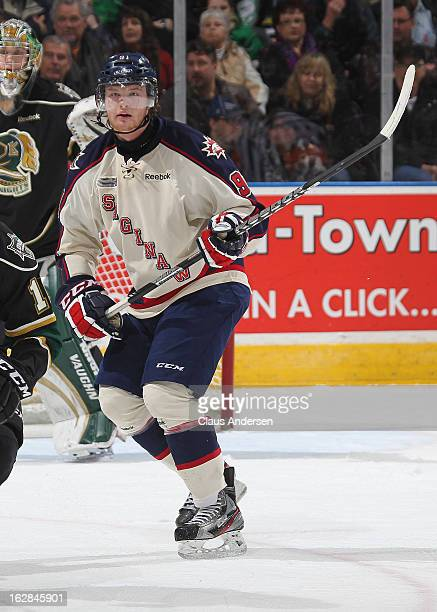 Nick Moutrey of the Saginaw Spirit skates in an OHL game against the London Knights on February 24 2013 at the Budweiser Gardens in London Ontario...