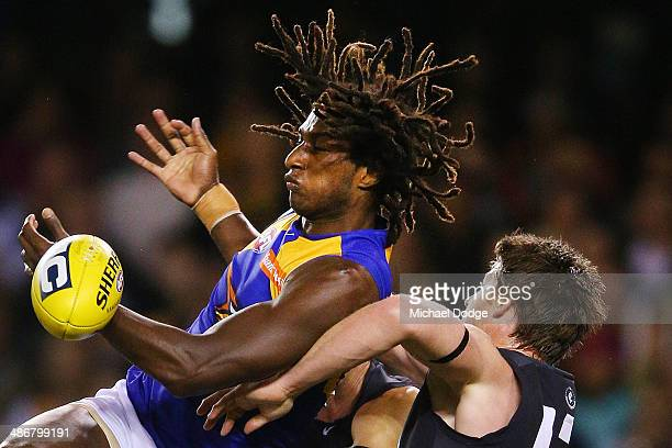Nick Naitanui of the Eagles contests for the ball against Sam Rowe of the Blues during the round six AFL match between the Carlton Blues and the West...