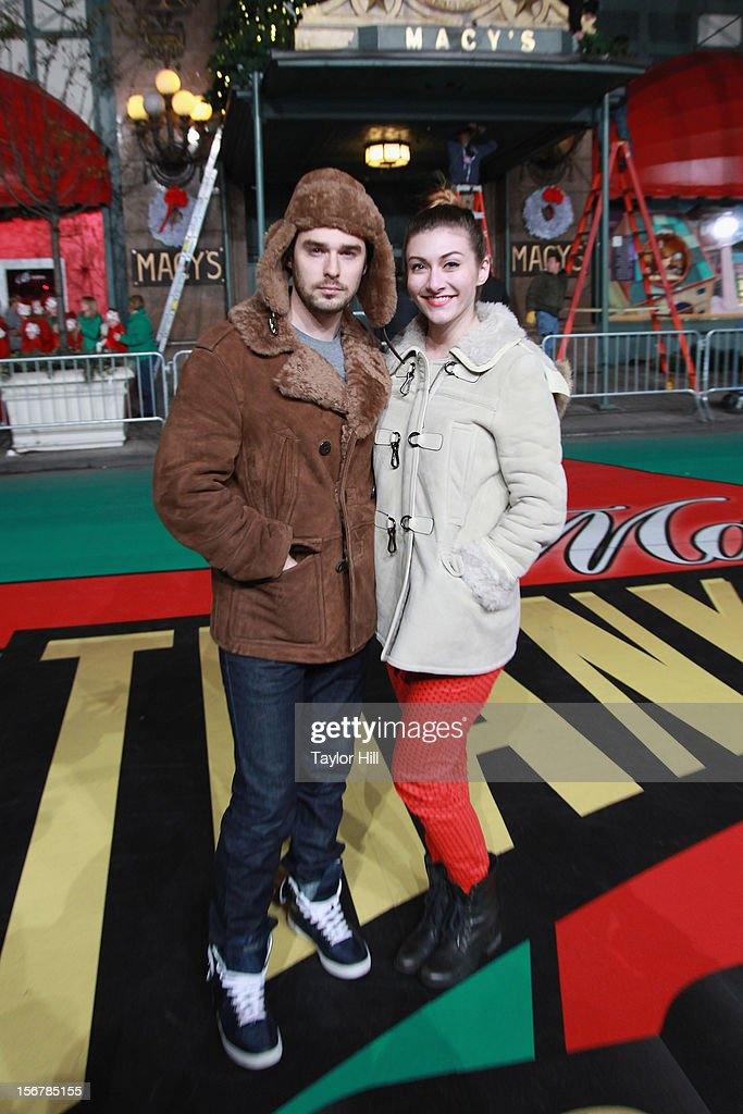 Nick Noonan and Amy Heidemann of Karmin pose during day two of the 86th Anniversary Macy's Thanksgiving Day Parade Rehearsals at Macy's Herald Square on November 20, 2012 in New York City.