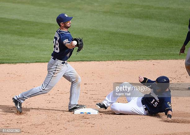 Nick Noonan of the San Diego Padres attempts to turn a double play as Will Middlebrooks of the Milwaukee Brewers slides into second base during the...
