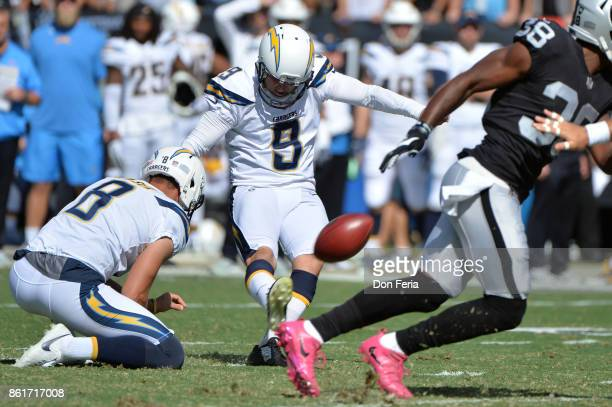 Nick Novak of the Los Angeles Chargers misses a field goal against the Oakland Raiders during their NFL game at OaklandAlameda County Coliseum on...