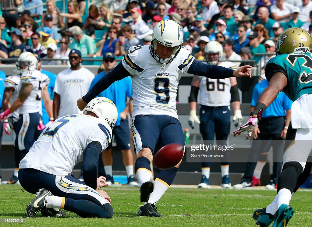 <a gi-track='captionPersonalityLinkClicked' href=/galleries/search?phrase=Nick+Novak&family=editorial&specificpeople=773029 ng-click='$event.stopPropagation()'>Nick Novak</a> #9 of the San Diego Chargers kicks an extra point during the game against the Jacksonville Jaguars at EverBank Field on October 20, 2013 in Jacksonville, Florida.