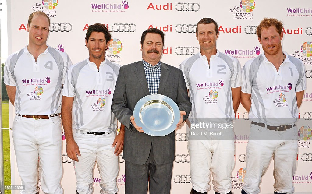 <a gi-track='captionPersonalityLinkClicked' href=/galleries/search?phrase=Nick+Offerman&family=editorial&specificpeople=3142027 ng-click='$event.stopPropagation()'>Nick Offerman</a> (C) poses with Team Audi Ultra members (L to R) <a gi-track='captionPersonalityLinkClicked' href=/galleries/search?phrase=Prince+William&family=editorial&specificpeople=178205 ng-click='$event.stopPropagation()'>Prince William</a>, Duke of Cambridge, Nic Roldan, <a gi-track='captionPersonalityLinkClicked' href=/galleries/search?phrase=James+Harper&family=editorial&specificpeople=609200 ng-click='$event.stopPropagation()'>James Harper</a> and <a gi-track='captionPersonalityLinkClicked' href=/galleries/search?phrase=Prince+Harry&family=editorial&specificpeople=178173 ng-click='$event.stopPropagation()'>Prince Harry</a> attend day two of the Audi Polo Challenge at Coworth Park on May 29, 2016 in London, England.