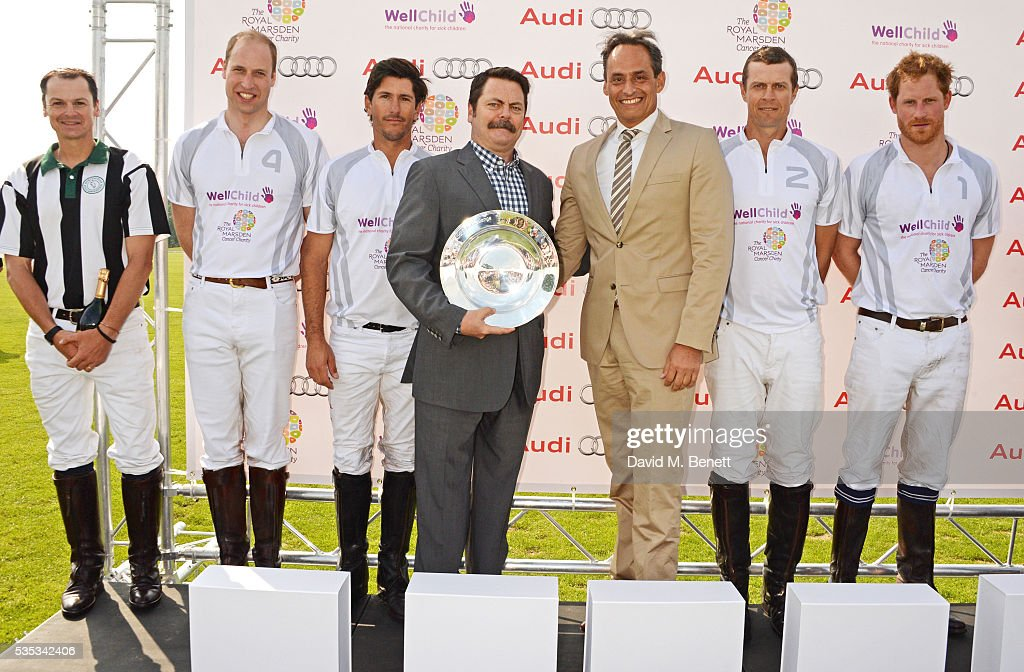 <a gi-track='captionPersonalityLinkClicked' href=/galleries/search?phrase=Nick+Offerman&family=editorial&specificpeople=3142027 ng-click='$event.stopPropagation()'>Nick Offerman</a> (C) poses with Team Audi Ultra members (2L to R) <a gi-track='captionPersonalityLinkClicked' href=/galleries/search?phrase=Prince+William&family=editorial&specificpeople=178205 ng-click='$event.stopPropagation()'>Prince William</a>, Duke of Cambridge, Nic Roldan, <a gi-track='captionPersonalityLinkClicked' href=/galleries/search?phrase=James+Harper&family=editorial&specificpeople=609200 ng-click='$event.stopPropagation()'>James Harper</a> and <a gi-track='captionPersonalityLinkClicked' href=/galleries/search?phrase=Prince+Harry&family=editorial&specificpeople=178173 ng-click='$event.stopPropagation()'>Prince Harry</a> attend day two of the Audi Polo Challenge at Coworth Park on May 29, 2016 in London, England.