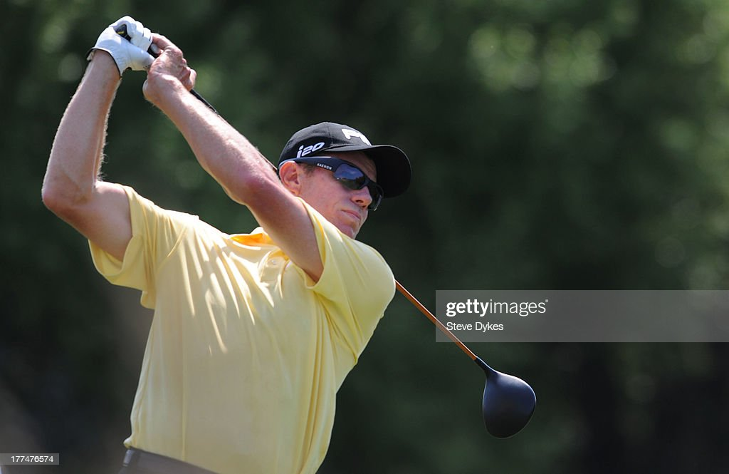 Nick O'Hern hits his drive on the 6th hole during the second round of the Cox Classic Presented by Lexus of Omaha at Champions Run on August 23 2013...