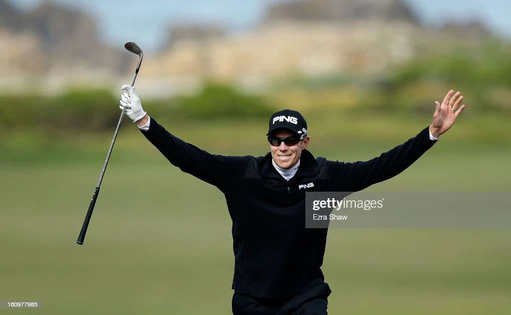 Nick O'Hern of Australia celebrates an eagle on the tenth hole during the second round of the AT&T Pebble Beach National Pro-Am at the Monterey Peninsula Country Club on February 8, 2013 in Pebble Beach, California.