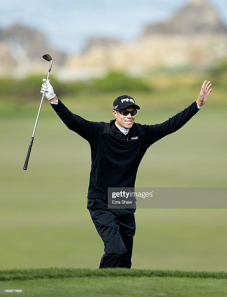 Nick O'Hern of Australia celebrates an eagle on the tenth hole during the second round of the ATT Pebble Beach National ProAm at the Monterey...