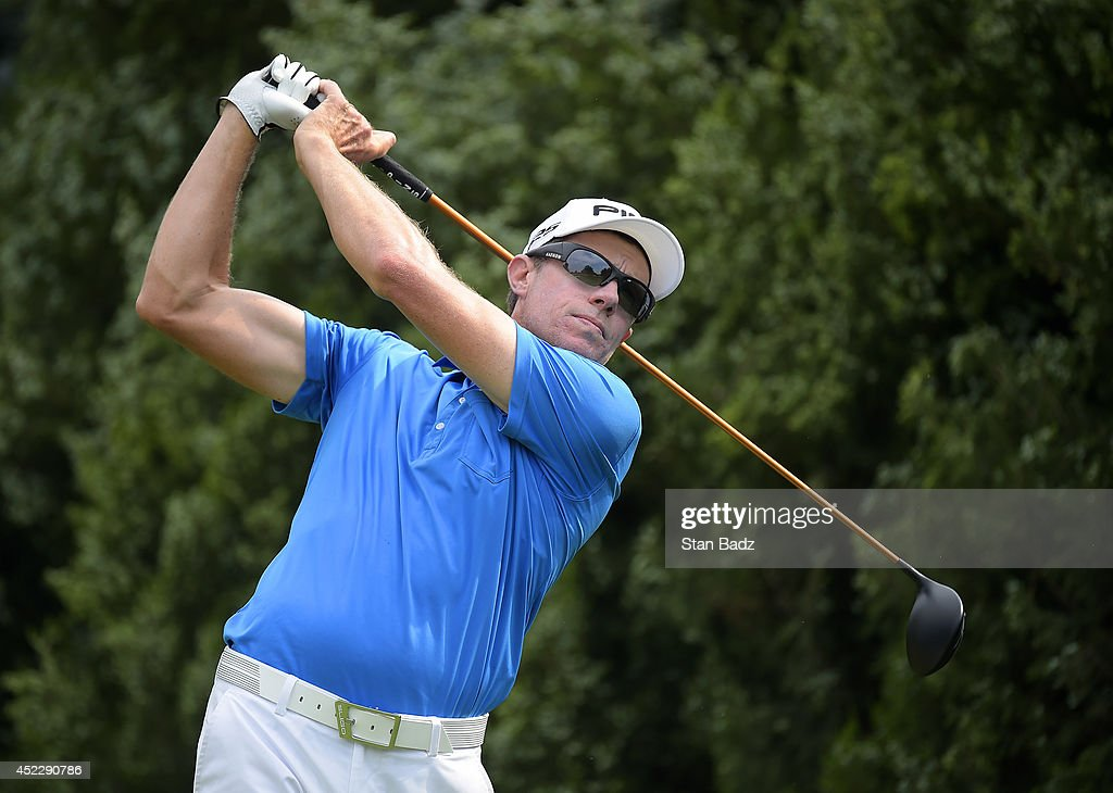Nick O'Hern of Australia hits a shot on the third hole during the first round of the Webcom Tour Albertsons Boise Open presented by Kraft Nabisco at...