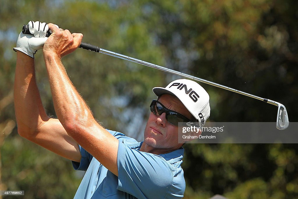 Nick O'Hern of Australia hits a tee shot during day one of the 2015 Australian Masters at Huntingdale Golf Course on November 19 2015 in Melbourne...