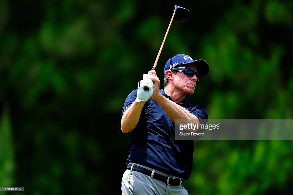 Nick O'Hern of Australia hits his tee shot on the fifth hole during the first round of the Sanderson Farms Championship at Annandale Golf Club in...
