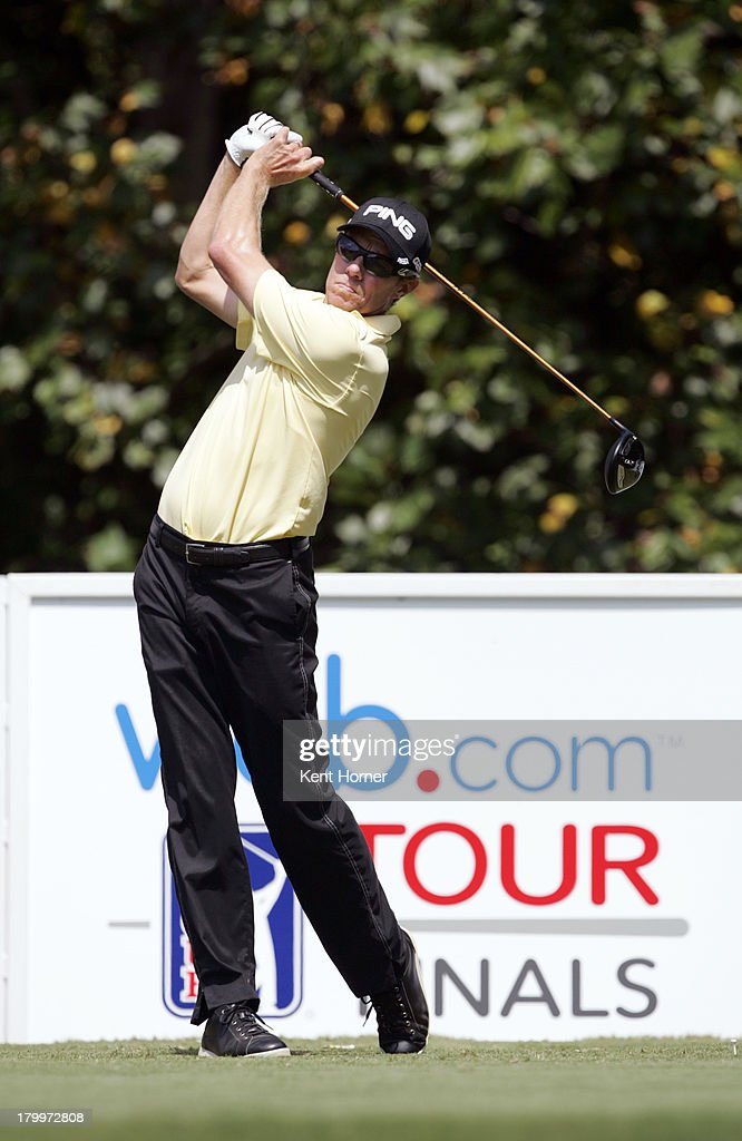 Nick O'Hern of Australia hits the ball off of the 18th tee during the third round of the Chiquita Classic in the Webcom tour finals at River Run...