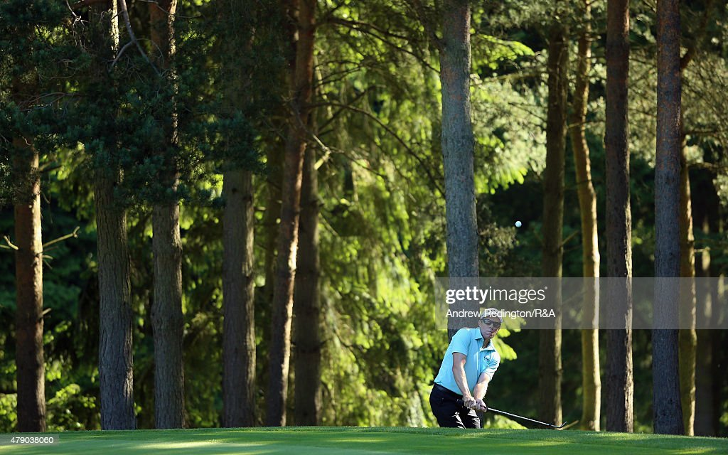 Nick O'Hern of Australia in action during the first round of The Open Championship Final Qualifying at Woburn Golf Club on June 30 2015 in Woburn...