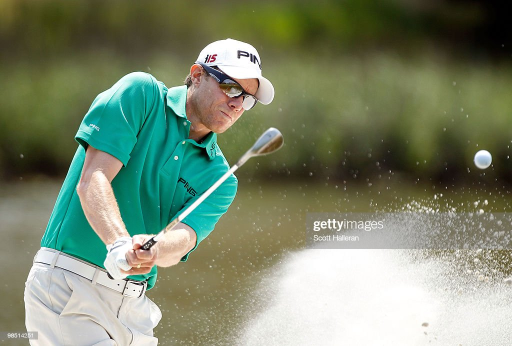 Nick O'Hern of Australia plays a bunker shot on the 17th hole during the third round of the Verizon Heritage at the Harbour Town Golf Links on April...