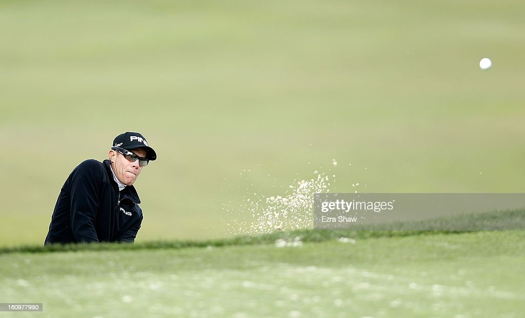 Nick O'Hern of Australia plays a bunker shot on the tenth hole during the second round of the AT&T Pebble Beach National Pro-Am at the Monterey Peninsula Country Club on February 8, 2013 in Pebble Beach, California.