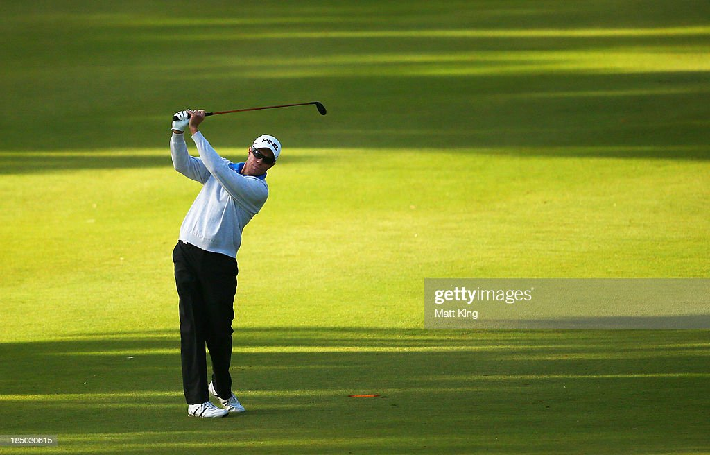 Nick O'Hern of Australia plays a fairway shot during day one of the Perth International at Lake Karrinyup Country Club on October 17 2013 in Perth...