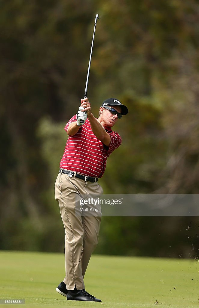 Nick O'Hern of Australia plays a fairway shot on the 4th hole during day two of the Perth International at Lake Karrinyup Country Club on October 18...