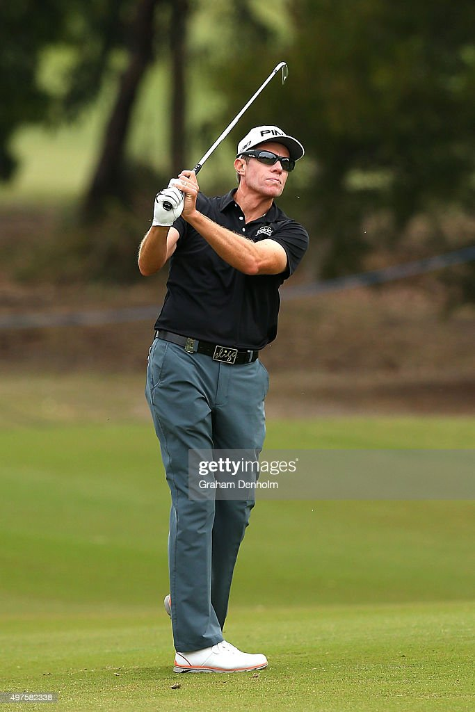 Nick O'Hern of Australia plays a shot from the fairway during the ProAm ahead of the 2015 Australian Masters at Huntingdale Golf Course on November...