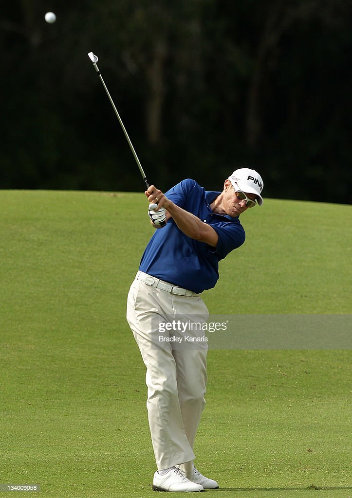 Nick O'Hern of Australia plays a shot on the 13th hole during day one of the 2011 Australian PGA Championship at the Hyatt Regency Coolum on November...