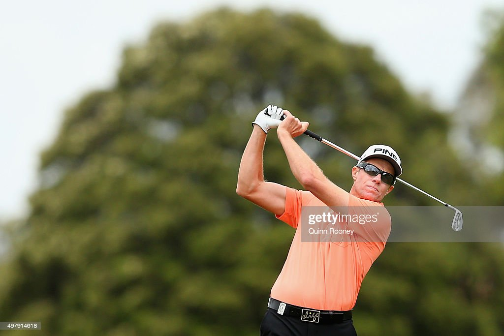 Nick O'Hern of Australia plays an approach shot during day two of the 2015 Australian Masters at Huntingdale Golf Club on November 20 2015 in...