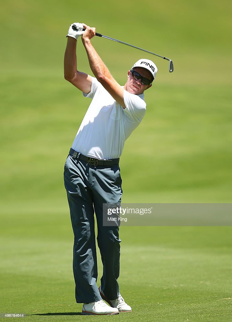 Nick O'Hern of Australia plays his approach shot on the 1st hole during day one of the 2015 Australian Open at The Australian Golf Club on November...