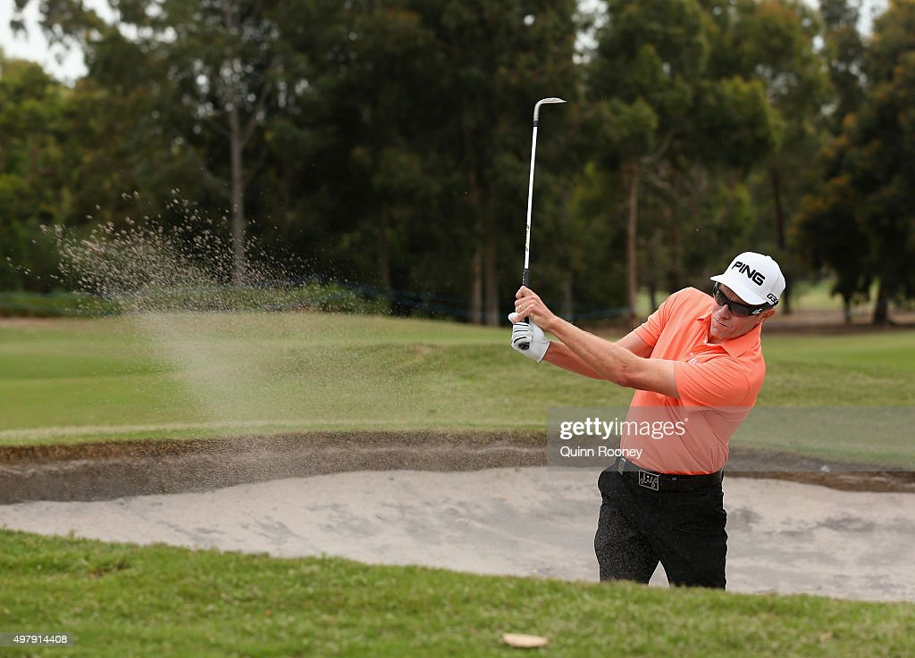 Nick O'Hern of Australia plays out of the bunker during day two of the 2015 Australian Masters at Huntingdale Golf Club on November 20 2015 in...