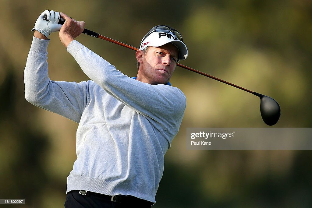 Nick O'Hern of Australia tees off on the 11th hole during day one of the Perth International at Lake Karrinyup Country Club on October 17 2013 in...