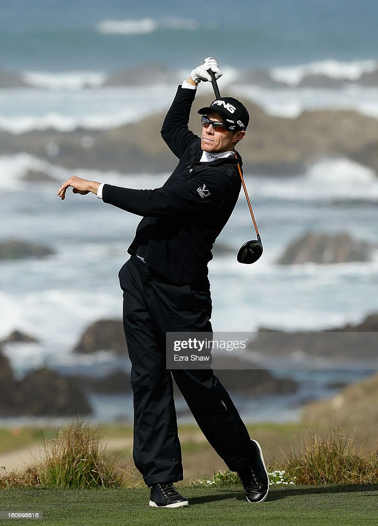 Nick O'Hern of Australia tees off on the 13th hole during the second round of the ATT Pebble Beach National ProAm at the Monterey Peninsula Country...