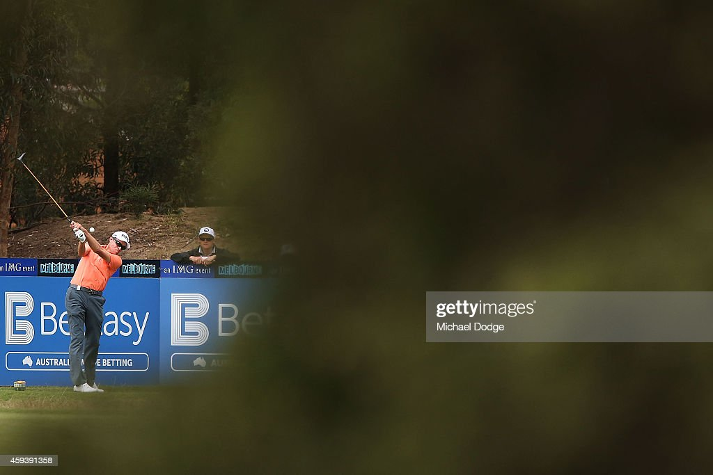 Nick O'Hern of Australia tees on the 18th tee during day three of the Australian Masters at The Metropolitan Golf Course on November 22 2014 in...