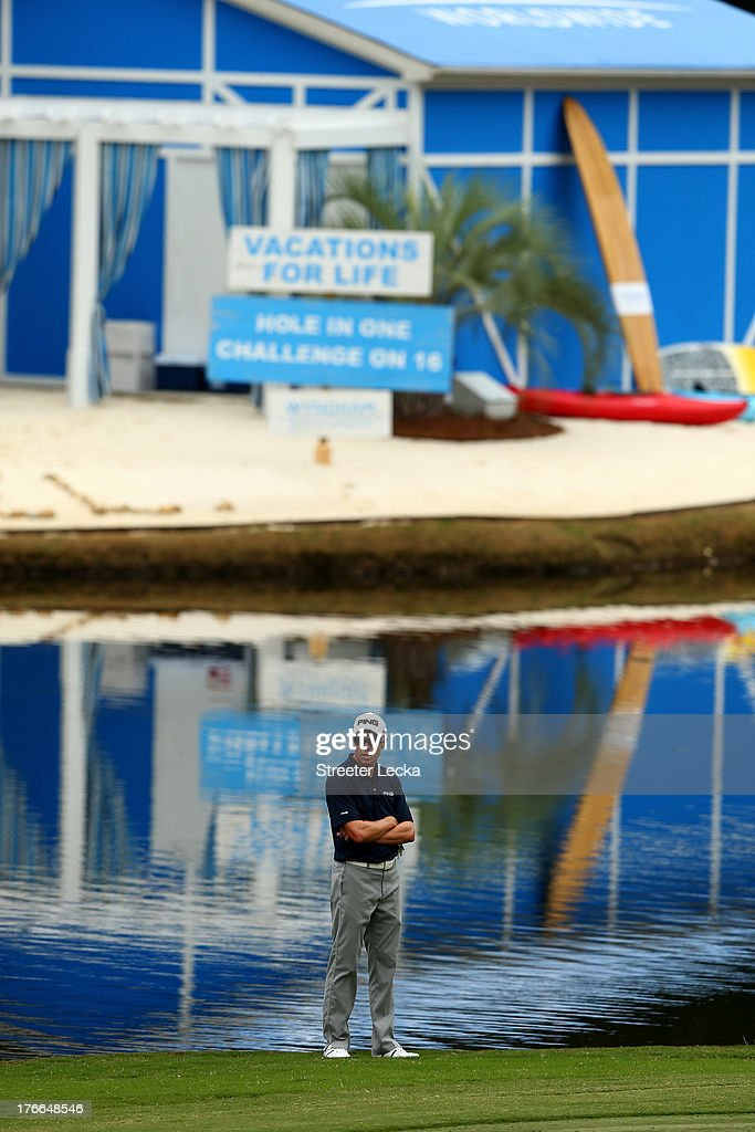 Nick O'Hern waits to hit on the 15th hole during the second round of the Wyndham Championship at Sedgefield Country Club on August 16 2013 in...
