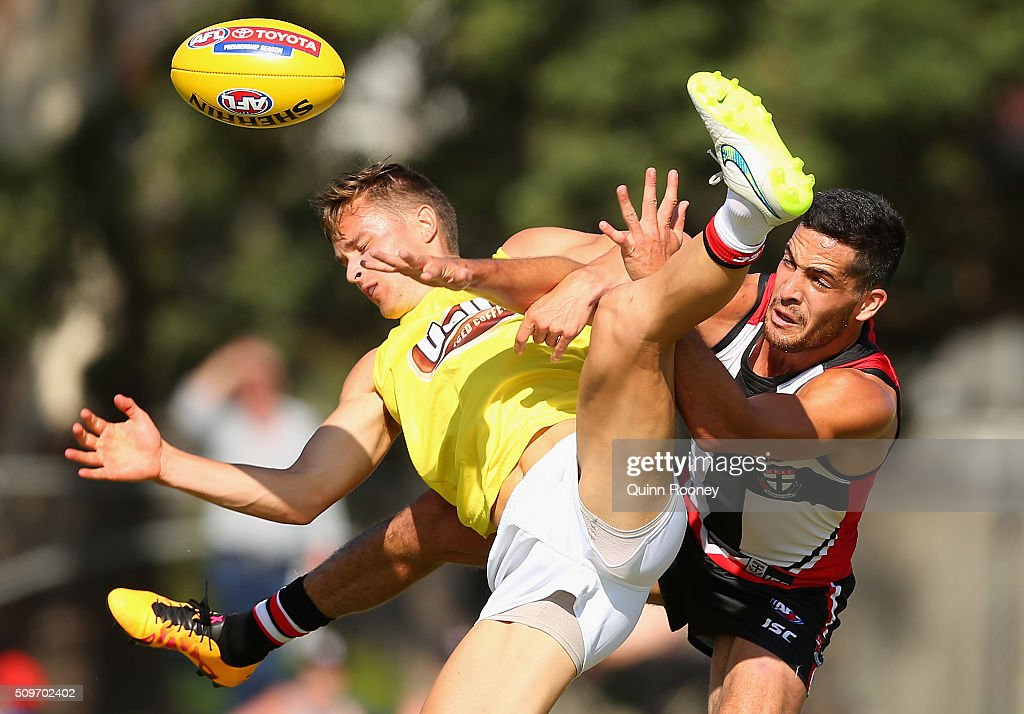 Nick O'Kearney and Shane Savage of the Saints compete for a mark during the St Kilda Saints AFL Intra-Club Match at Trevor Barker Beach Oval on February 12, 2016 in Melbourne, Australia.