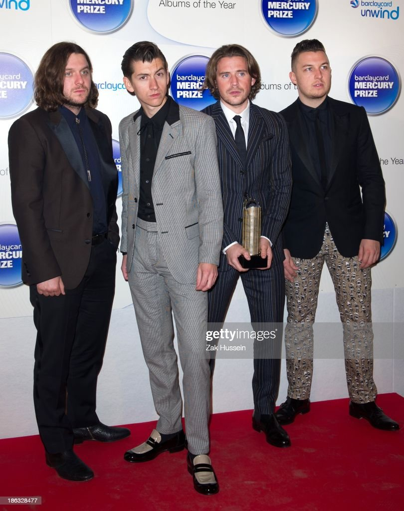 Nick O'Mailey, <a gi-track='captionPersonalityLinkClicked' href=/galleries/search?phrase=Alex+Turner&family=editorial&specificpeople=706618 ng-click='$event.stopPropagation()'>Alex Turner</a>, Matt Holders and <a gi-track='captionPersonalityLinkClicked' href=/galleries/search?phrase=Jamie+Cook&family=editorial&specificpeople=869060 ng-click='$event.stopPropagation()'>Jamie Cook</a> of Arctic Monkeys attend the Barclaycard Mercury Prize at The Roundhouse on October 30, 2013 in London, England.