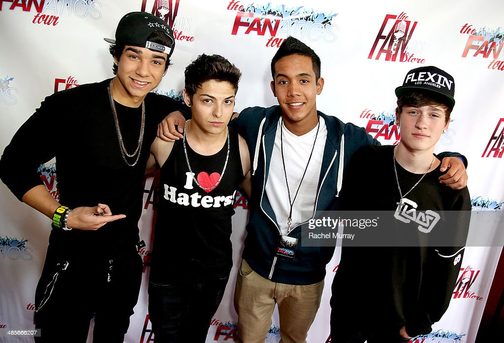 Nick Pallauf, Jake Ryan, Chad Jaxon, and Crawford Collins arrive at The Fanatics Tour L.A. Show at Infusion Lounge on April 19, 2014 in Universal City, California.