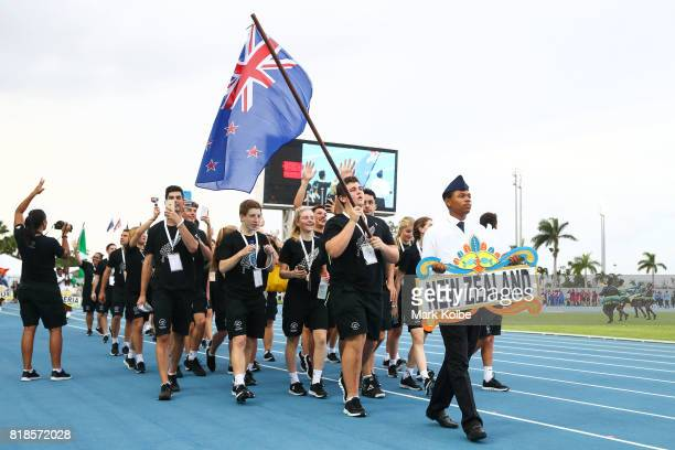 Nick Palmer flagbearer for New Zealand leads New Zealand during the 2017 Youth Commonwealth Games Opening Ceremony on day 1 of the 2017 Youth...