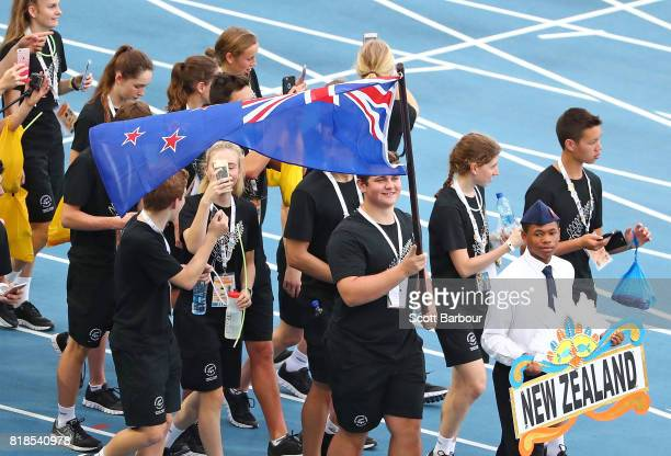 Nick Palmer flagbearer for New Zealand leads New Zealand onto the track during the 2017 Youth Commonwealth Games Opening Ceremony on day 1 of the...