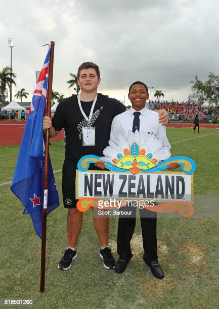 Nick Palmer flagbearer for New Zealand poses during the 2017 Youth Commonwealth Games Opening Ceremony on day 1 of the 2017 Youth Commonwealth Games...