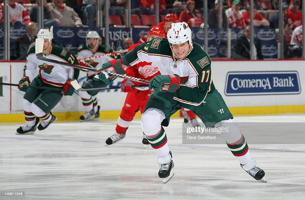 <a gi-track='captionPersonalityLinkClicked' href=/galleries/search?phrase=Nick+Palmieri&family=editorial&specificpeople=4044158 ng-click='$event.stopPropagation()'>Nick Palmieri</a> #17 of the Minnesota Wild skates against the Detroit Red Wings during their NHL game at Joe Louis Arena on March 2, 2012 in Detroit, Michigan.