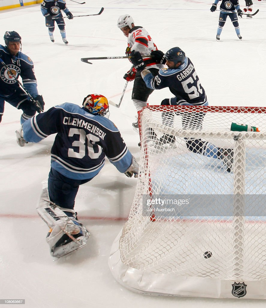 Nick Palmieri of the New Jersey Devils scores a goal past goaltender Scott Clemmensen of the Florida Panthers on January 15 2011 at the BankAtlantic...