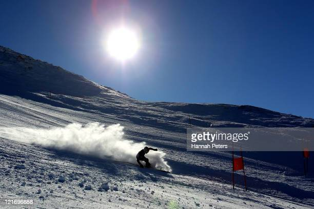 Nick Pascoe of New Zealand competes in the Men's Giant Slalom run one on day 10 of the Winter Games NZ at Coronet Peak on August 22 2011 in...