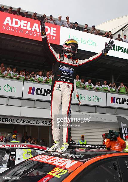 Nick Percat driver of the Lucas Dumbrell Motorsport Holden celebrates after winning race three of the V8 Supercars Clipsal 500 at Adelaide Street...