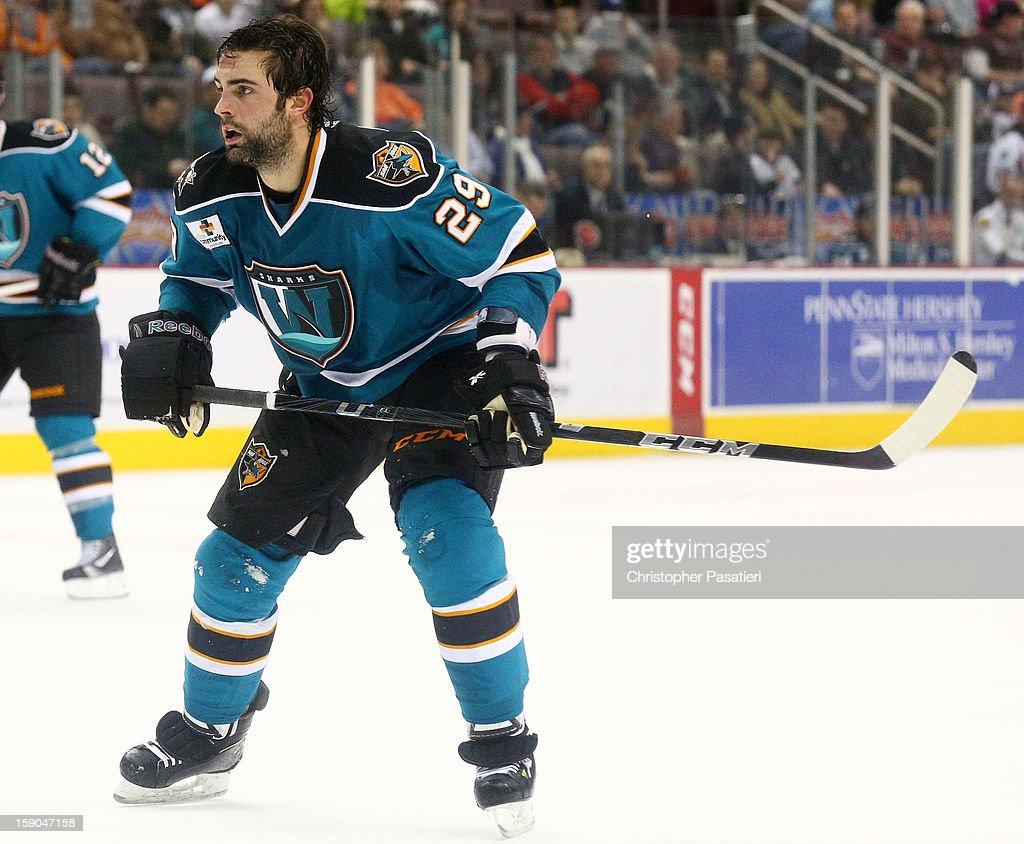 <a gi-track='captionPersonalityLinkClicked' href=/galleries/search?phrase=Nick+Petrecki&family=editorial&specificpeople=4361318 ng-click='$event.stopPropagation()'>Nick Petrecki</a> #29 of the Worcester Sharks skates after losing is helmet during an American Hockey League game against the Hershey Bears on January 6, 2013 at the Giant Center in Hershey, Pennsylvania.