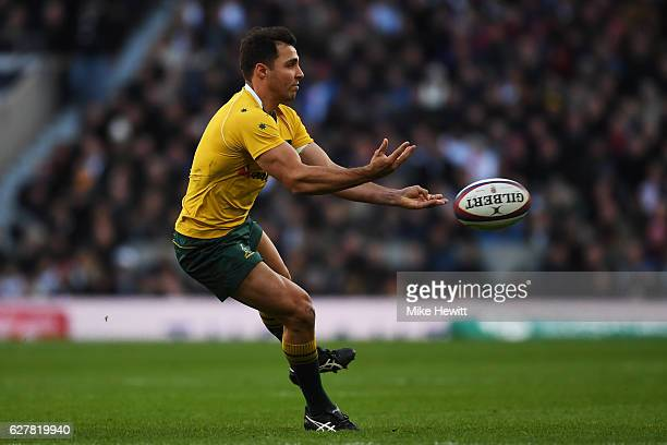 Nick Phipps of Australia passes the ball during the Old Mutual Wealth Series match between England and Australia at Twickenham Stadium on December 3...