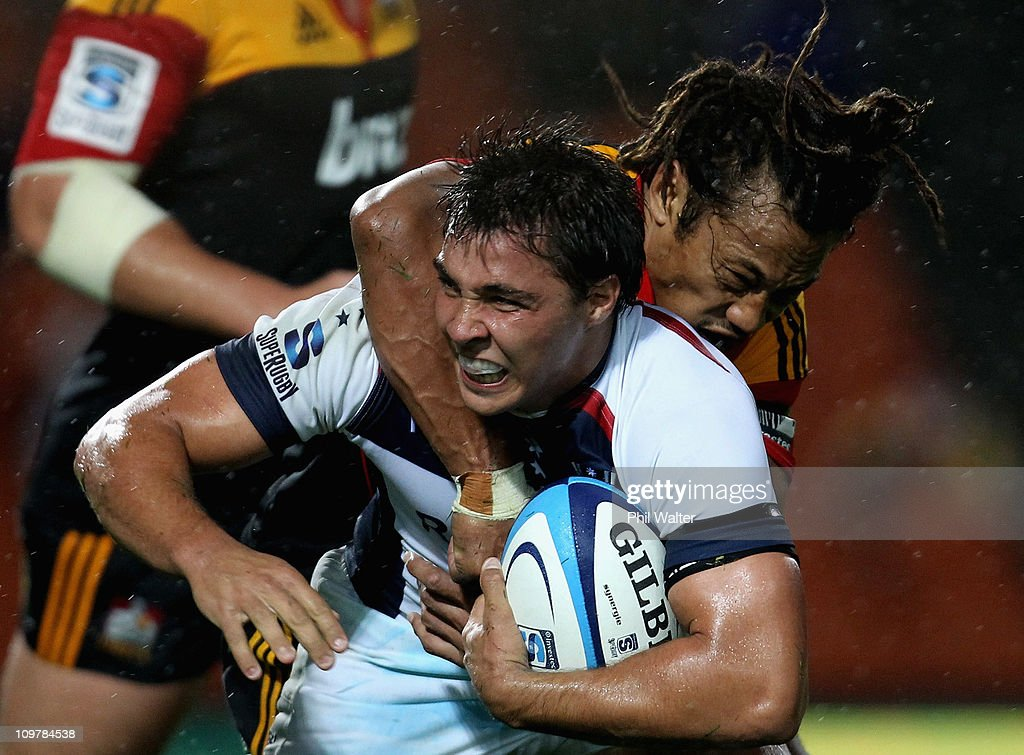 Nick Phipps of the Rebels is tackled by <a gi-track='captionPersonalityLinkClicked' href=/galleries/search?phrase=Tana+Umaga&family=editorial&specificpeople=203218 ng-click='$event.stopPropagation()'>Tana Umaga</a> of the Chiefs during the round three Super Rugby match between the Chiefs and the Rebels at Waikato Stadium on March 5, 2011 in Hamilton, New Zealand.
