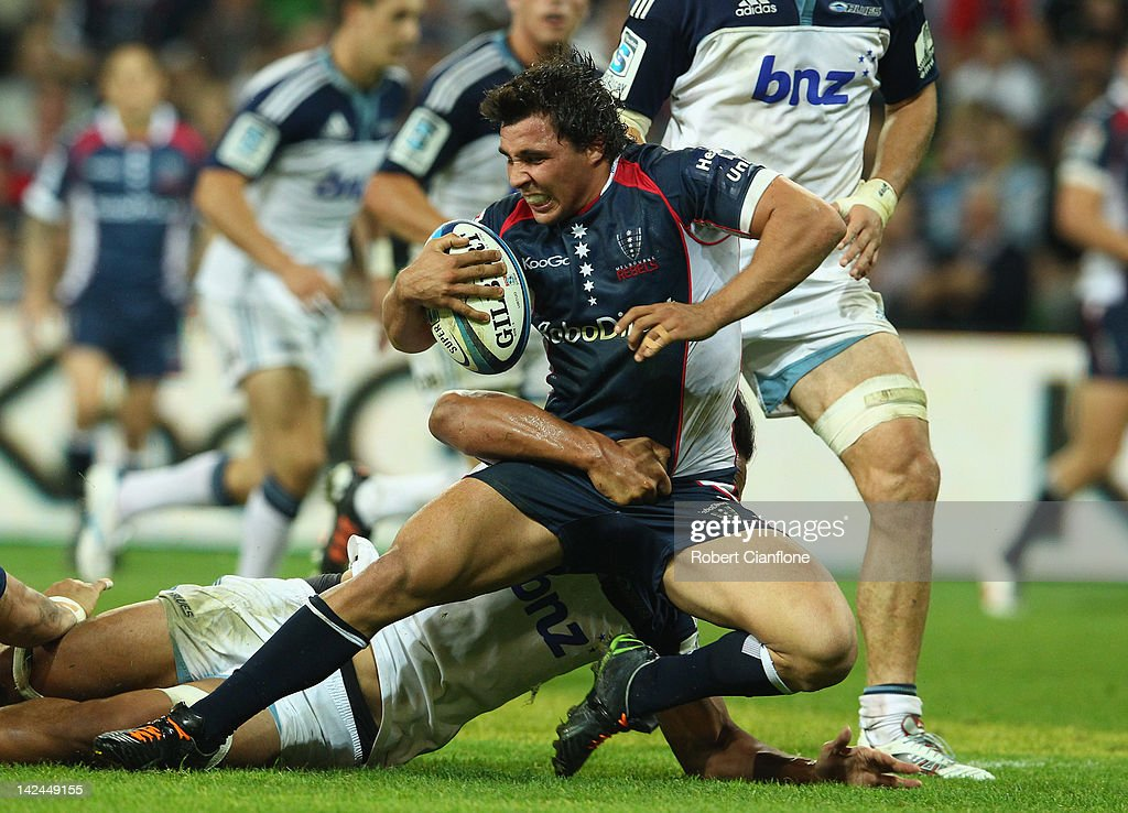 Nick Phipps of the Rebels is tackled during the round seven Super Rugby match between the Melbourne Rebels and the Auckland Blues at AAMI Park on April 5, 2012 in Melbourne, Australia.