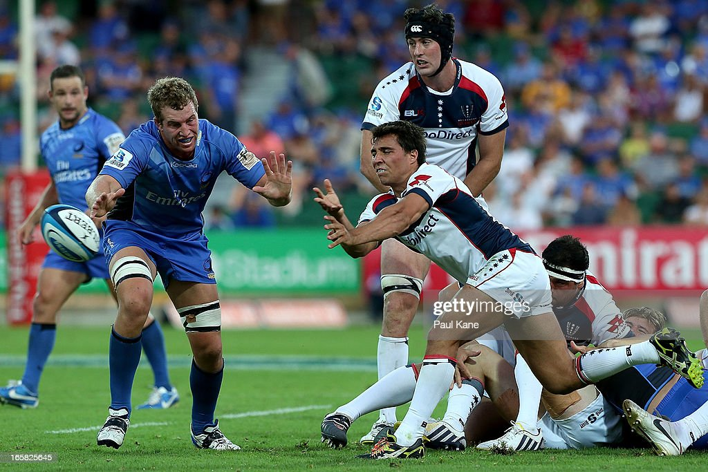Nick Phipps of the Rebels passes the ball during the round eight Super Rugby match between the Western Force and the Melbourne Rebels at nib Stadium on April 6, 2013 in Perth, Australia.
